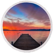 Sunset Walkway Round Beach Towel