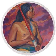 Sunset Warrior Round Beach Towel