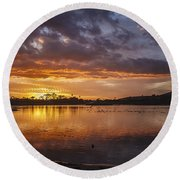 Sunset With Clouds Over Malibu Beach Lagoon Estuary Round Beach Towel