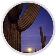 Sunset With Moonise Behind Saguaro Cactus In Desert Southwest Ar Round Beach Towel