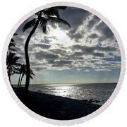 Sunset With Palm Trees Round Beach Towel by Pamela Walton