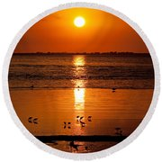 Round Beach Towel featuring the photograph Sunset With The Birds Photo by Meg Rousher