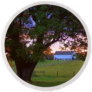 Round Beach Towel featuring the photograph Sunset With Tree by Joseph Skompski