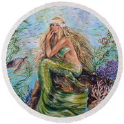 Sunshine Mermaid Square Round Beach Towel