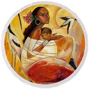Sunshine Mother And Child Round Beach Towel