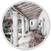Sunshine On Portico Round Beach Towel