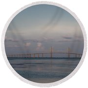 Round Beach Towel featuring the photograph Sunshine Skyway Bridge by Steven Sparks