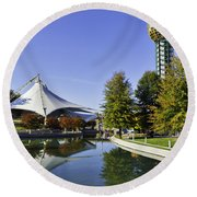 Sunsphere In The Fall Round Beach Towel