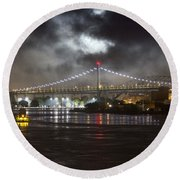 Super Moon And Triboro Bridge Round Beach Towel
