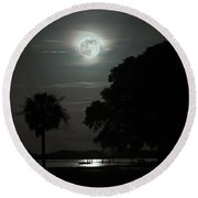 Super Moon Over Wimbee Creek Round Beach Towel