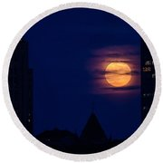 Round Beach Towel featuring the photograph Super Moon Rises by Mike Ste Marie