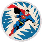 Superman 8 Round Beach Towel