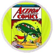 Superman Comic Book -1938 Round Beach Towel by Doc Braham