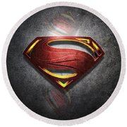 Superman Man Of Steel Digital Artwork Round Beach Towel