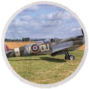 Supermarine Spitfire T9 Round Beach Towel by Paul Gulliver