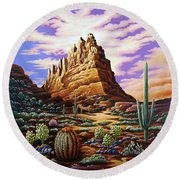 Superstition Mountains Round Beach Towel