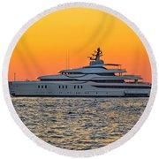 Superyacht On Yellow Sunset View Round Beach Towel