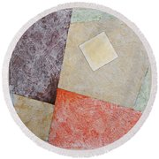 Round Beach Towel featuring the painting Suprematist Composition No 1 With A Square by Ben Gertsberg