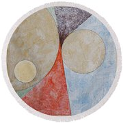Round Beach Towel featuring the painting Suprematist Composition No 2 With A Circle by Ben Gertsberg