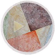 Round Beach Towel featuring the painting Suprematist Composition No 3 With A Triangle by Ben Gertsberg
