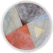 Round Beach Towel featuring the painting Suprematist Composition No 4 With A Triangle by Ben Gertsberg