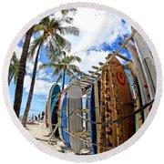 Surf And Sun Waikiki Round Beach Towel