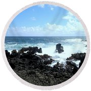 Round Beach Towel featuring the photograph Surf At Hana by Fred Wilson