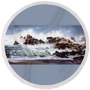 Surf At Lincoln City Round Beach Towel