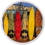 Surf Board Fence Maui Hawaii Round Beach Towel