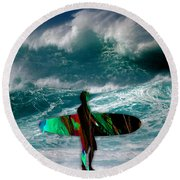 Surf Board Round Beach Towel