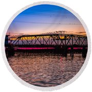 Surf City Swing Bridge Round Beach Towel