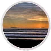 Round Beach Towel featuring the photograph Surf Fishing by Michael Gordon