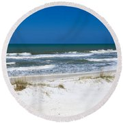 Surf On The Beach, St. Joseph Peninsula Round Beach Towel