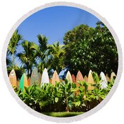 Surfboard Fence - Left Side Round Beach Towel