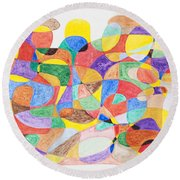 Round Beach Towel featuring the painting Abstract Dance Party  by Stormm Bradshaw