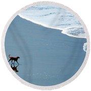 Surfer Dog Round Beach Towel