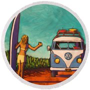 Surfer Girl And Vw Bus Round Beach Towel