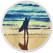 Surfer Girl Round Beach Towel