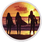 Surfer Girl Silhouettes Round Beach Towel