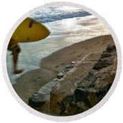 Surfer In Motion Round Beach Towel