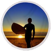 Surfer Silhouette Round Beach Towel