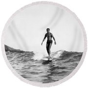 Surfing At Waikiki Beach Round Beach Towel