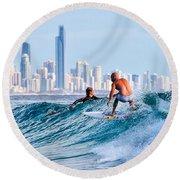 Surfing Burleigh Round Beach Towel