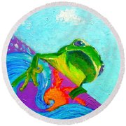 Surfing Froggie Round Beach Towel