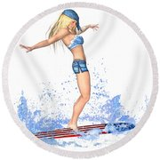 Surfing Girl Round Beach Towel by Renate Janssen