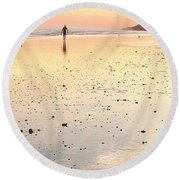 Surfing Sunset Round Beach Towel