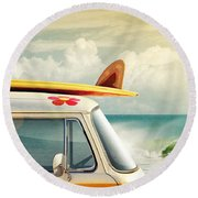 Surfing Way Of Life Round Beach Towel by Carlos Caetano