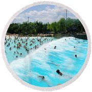 Round Beach Towel featuring the photograph Surfs Up by David Nicholls