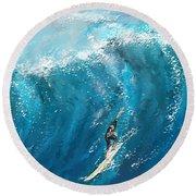 Surf's Up- Surfing Art Round Beach Towel