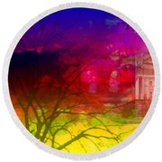 Round Beach Towel featuring the digital art Surreal Buildings  by Cathy Anderson
